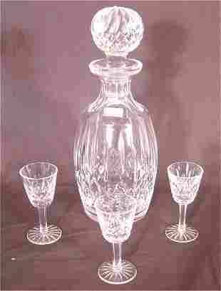4 PC WATERFORD CRYSTAL CORDIAL SET, DECANTER 10 1