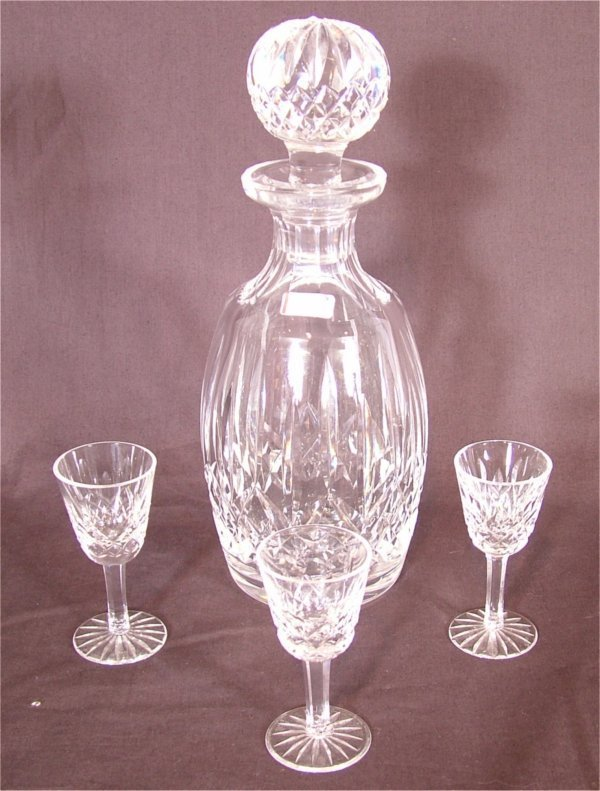 3120: 4 PC WATERFORD CRYSTAL CORDIAL SET, DECANTER 10 1