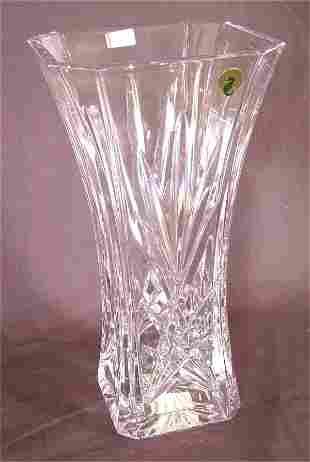 """WATERFORD CRYSTAL TALL SQUARE FLARED VASE 11 3/4"""""""