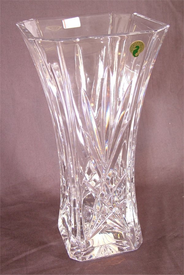 """3122: WATERFORD CRYSTAL TALL SQUARE FLARED VASE 11 3/4"""""""