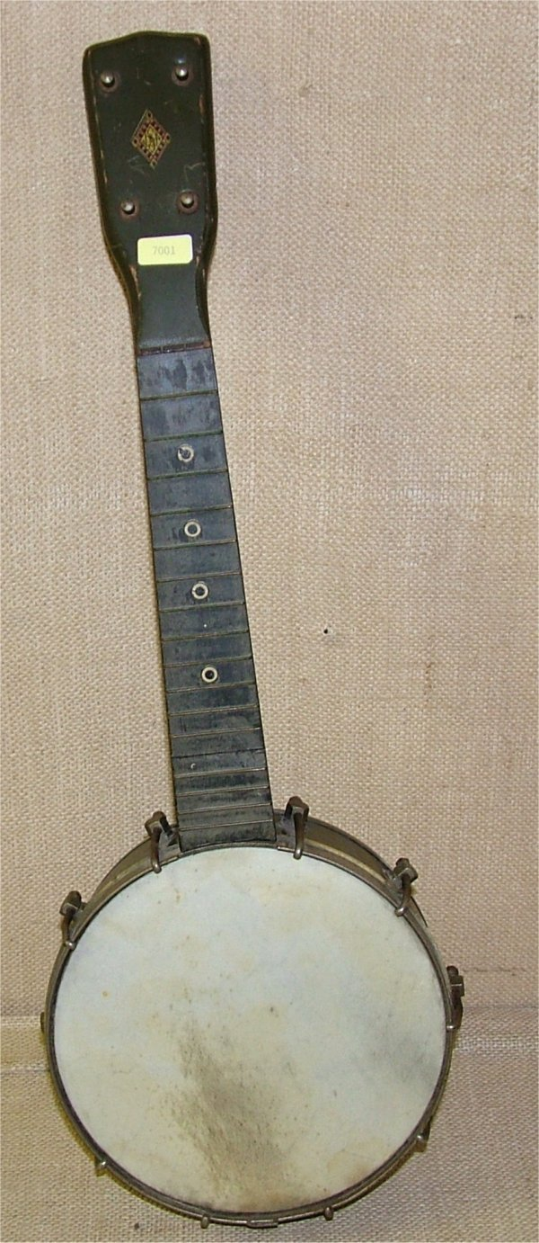 "7001: 4 STRING BANJO 28""L, NEEDS RESTRUNG"