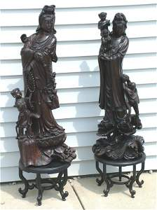 """7020: PR CARVED ORIENTAL WOODEN FIGURAL GROUPING 38"""", O"""