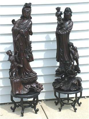 """PR CARVED ORIENTAL WOODEN FIGURAL GROUPING 38"""", O"""