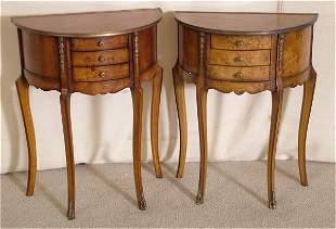 PR DEMILUNE TABLES W/MAPPA BURL & ORMOLU DECORATI