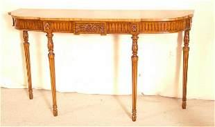 BURL MAHOGANY CONSOLE TABLE W/ACANTHUS LEAF CARVI