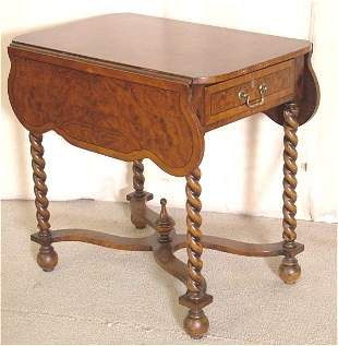 MAHOGANY WM & MARY PEMBROKE TABLE W/BARLEY TWIST