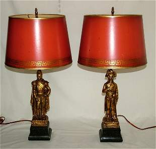 """PR FIGURAL TABLE LAMPS, MILITARY FIGURES 21""""H"""