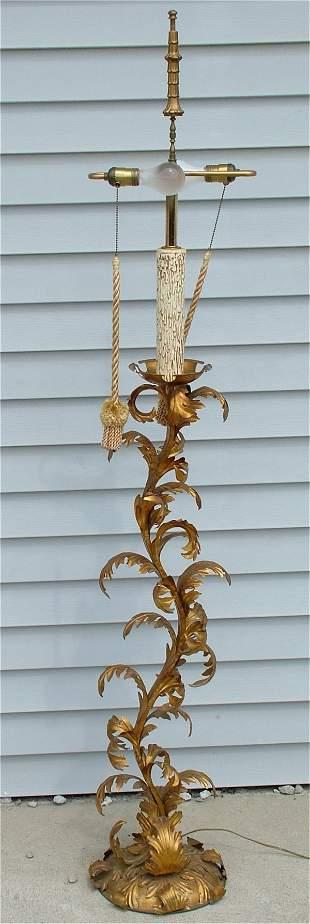 """VINTAGE GOLD LEAF FLOOR LAMP 68 """"H"""