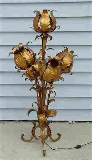 VINTAGE GOLD LEAF METAL 5 LIGHT TULIP TABLE LAMP