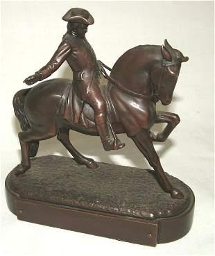 "CAST BRONZE FIGURE OF HORSE & RIDER 6""H"