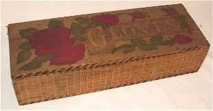 "BURNTWOOD GLOVE BOX W/ROSES 10""L X 4""D X 2 1/2""H"
