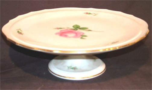 7129: DRESDEN CHINA FTD CAKE PLATE W/ROSE DECORATION 15