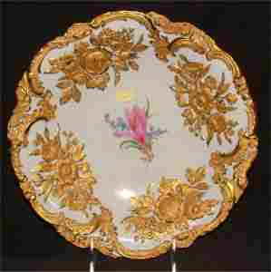7256: MEISSEN BOWL W/HEAVY EMBOSSED GOLD FLORAL DECOR 1
