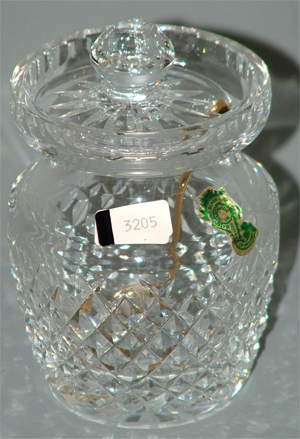 "3205: WATERFORD CRYSTAL CONDIMENT JAR 5""H"