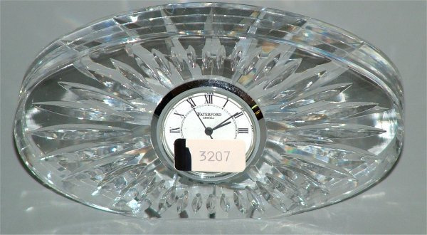 "3207: WATERFORD CRYSTAL DESK CLOCK 5""L"