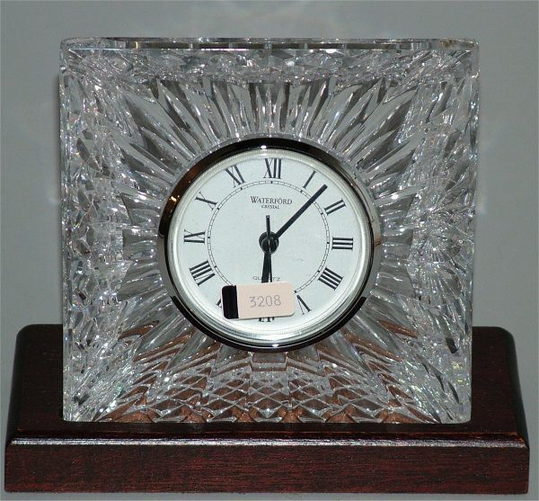 """3208: WATERFORD CRYSTAL CLOCK 5""""W X 5""""H ON WOOD BASE"""