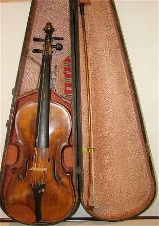 """VIOLIN & BOW IN WOOD CASE 24""""L"""