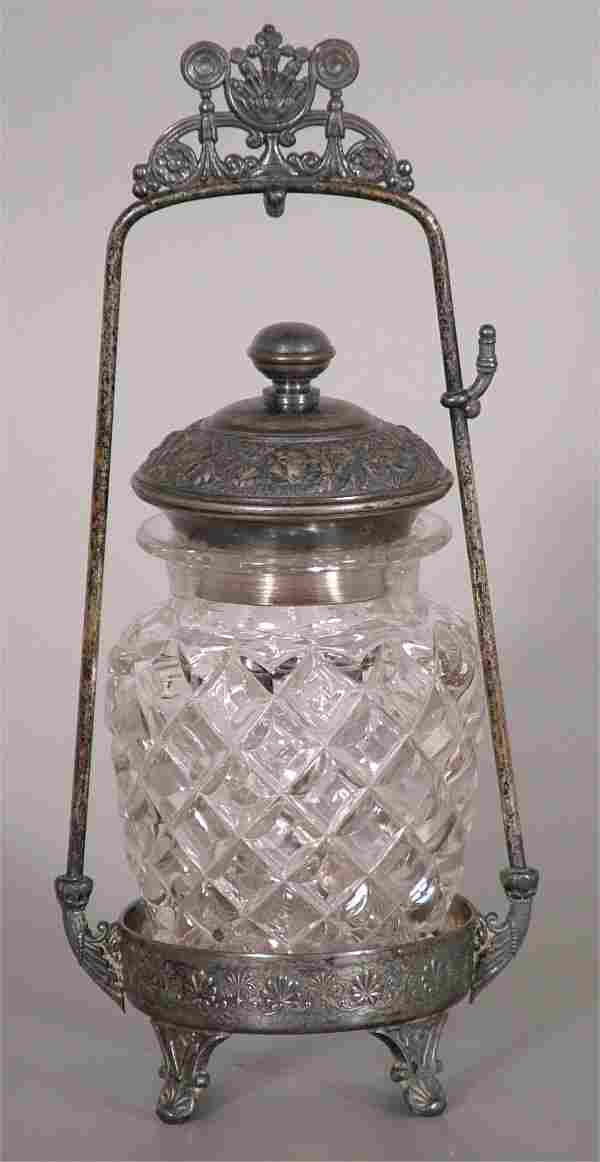 QUILTED PATTERN GLASS PICKLE CASTOR W/SILVER PLAT
