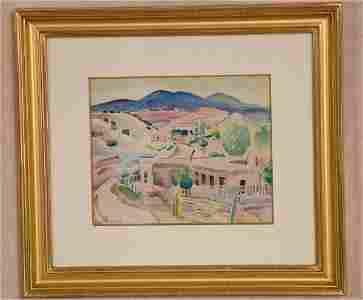 """7347: ALICE SCHILLE AMERICAN (1869-1955) WATERCOLOR """"SU"""