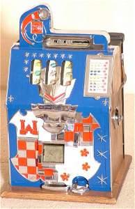 7435: MILLS CASTLE FRONT 25 CENT SLOT MACHINE W/OAK CAS