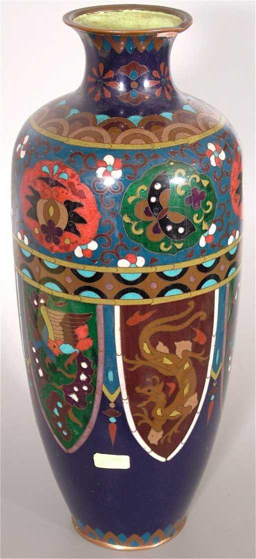 7523 Japanese Cloisonne Vase Repair To Side Rim 14