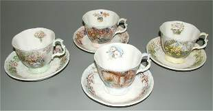 (4) ROYAL DOULTON 4 SEASONS CUPS & SAUCERS