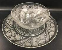 HEISEY MORSE 18 TORTE PLATE AND 4056 11 SALAD BOWL