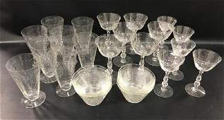 27 PIECES HEISEY BARBARA FRITCHIE STEMS, H - 6 TALL