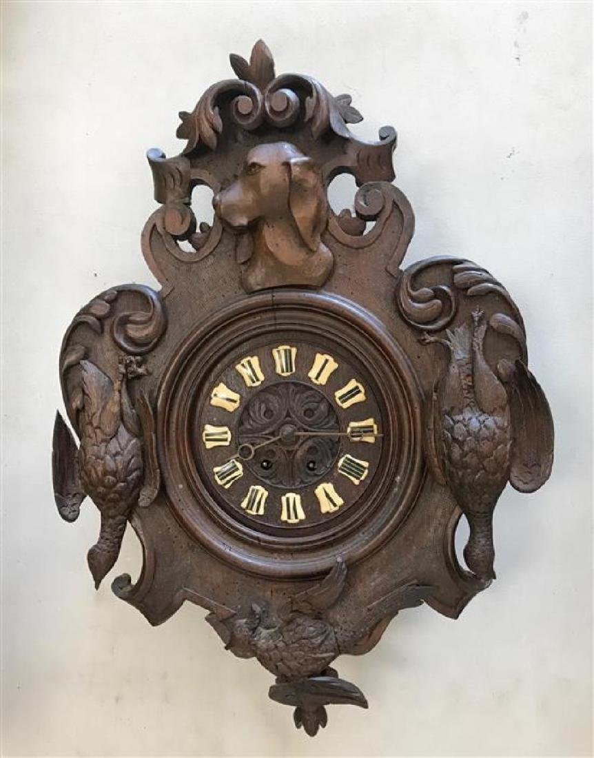 """GERMAN BLACK FOREST WALL CLOCK WITH HUNTING MOTIF, 26""""H"""
