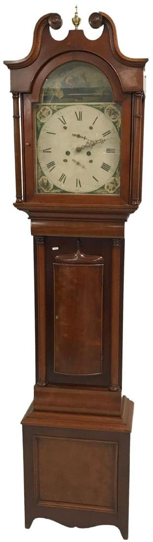 CHERRY GRANDFATHER CLOCK CASE WITH BROKEN ARCH TOP, 82""