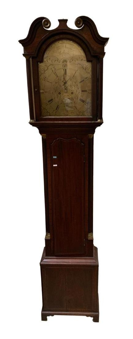 MAHOGANY GRANDFATHER TALL CASE CLOCK WITH STRING INLAY