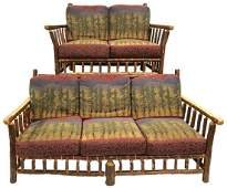 RUSTIC OLD HICKORY LOVESEAT AND SOFA WITH FOREST