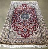ORIENTAL RUG FINE PERSIAN SILK  WOOL NAIN 42 X 7