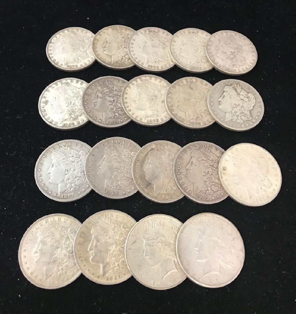 19 U.S. SILVER DOLLARS INCLUDING (2) 1878, 1880, 1880O,