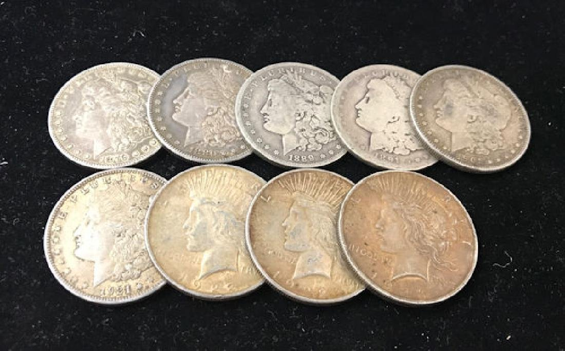 9 U.S. SILVER DOLLARS INCLUDING 1879O, 1880S, 1889O,