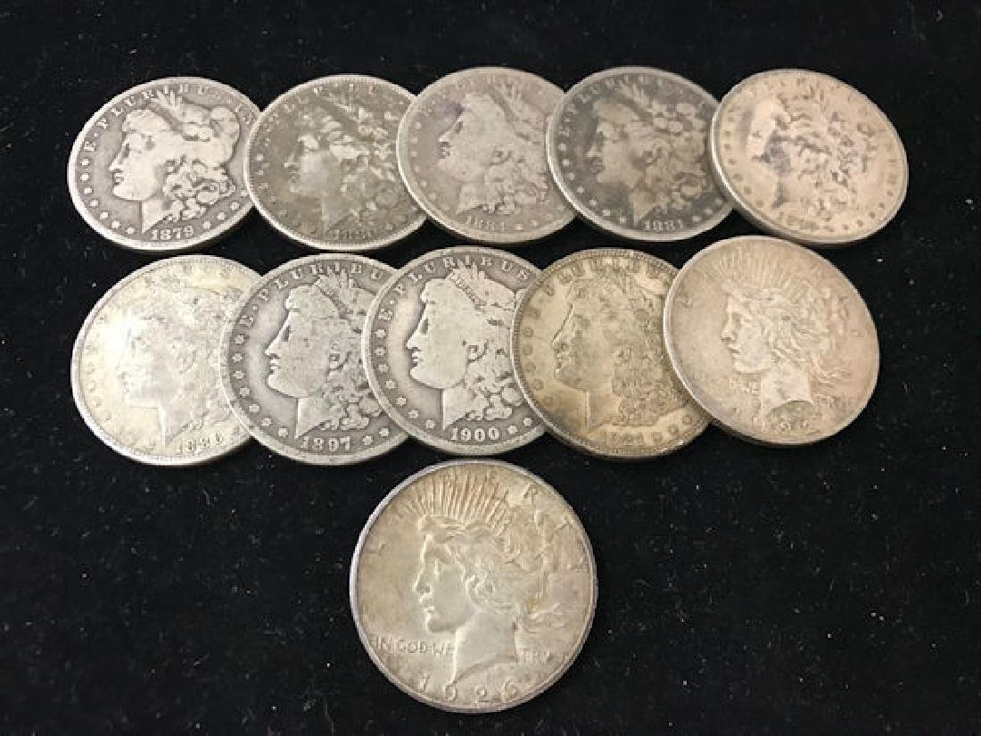 11 U.S. SILVER DOLLARS INCLUDING 1879O, 1880S, 1881S,