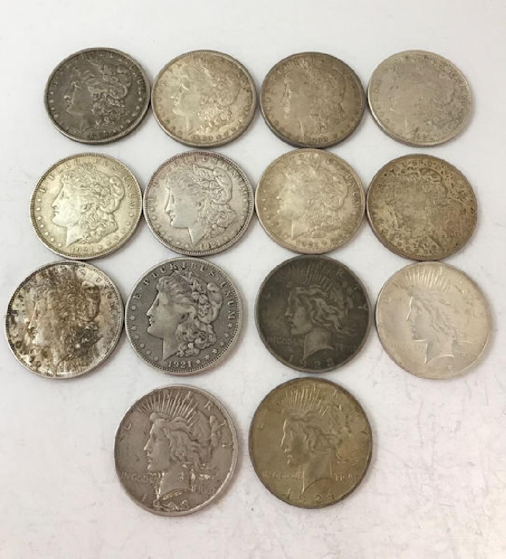 14 U.S. SILVER DOLLARS INCLUDING 1887O, (2) 1890, (6)