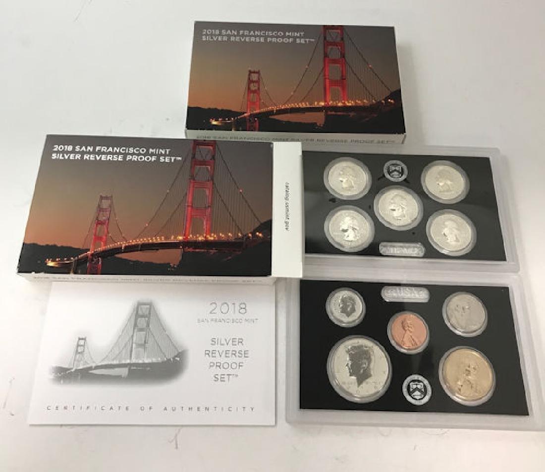 (2) 2018 SAN FRANCISCO MINT SILVER REVERSE PROOF SETS
