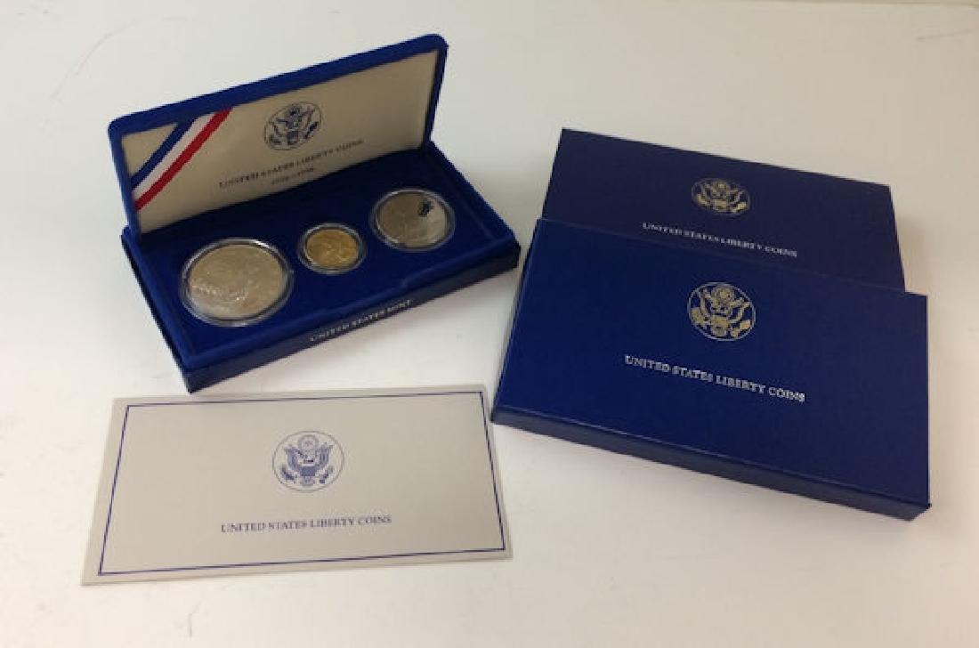 1986 U.S. ELLIS ISLAND COMMEMORATIVE 3-COIN PROOF SET