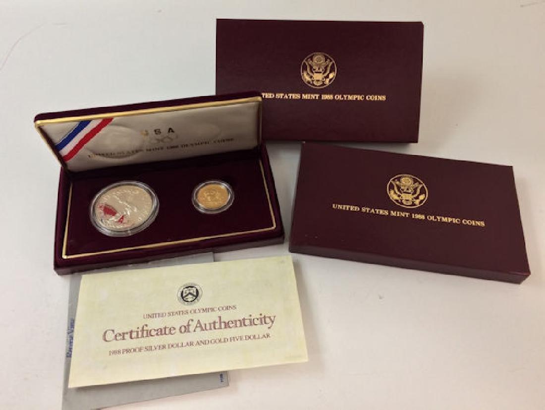 1988 U.S. MINT OLYMPIC COMMEMORATIVE 2-COIN PROOF SET