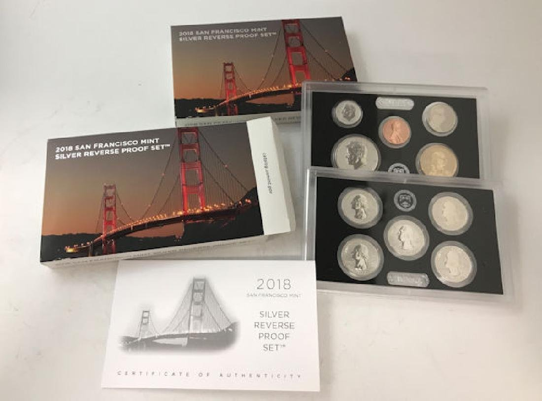(2) 2018 SAN FRANCISCO MINT SILVER REVERSE PROOF SETS