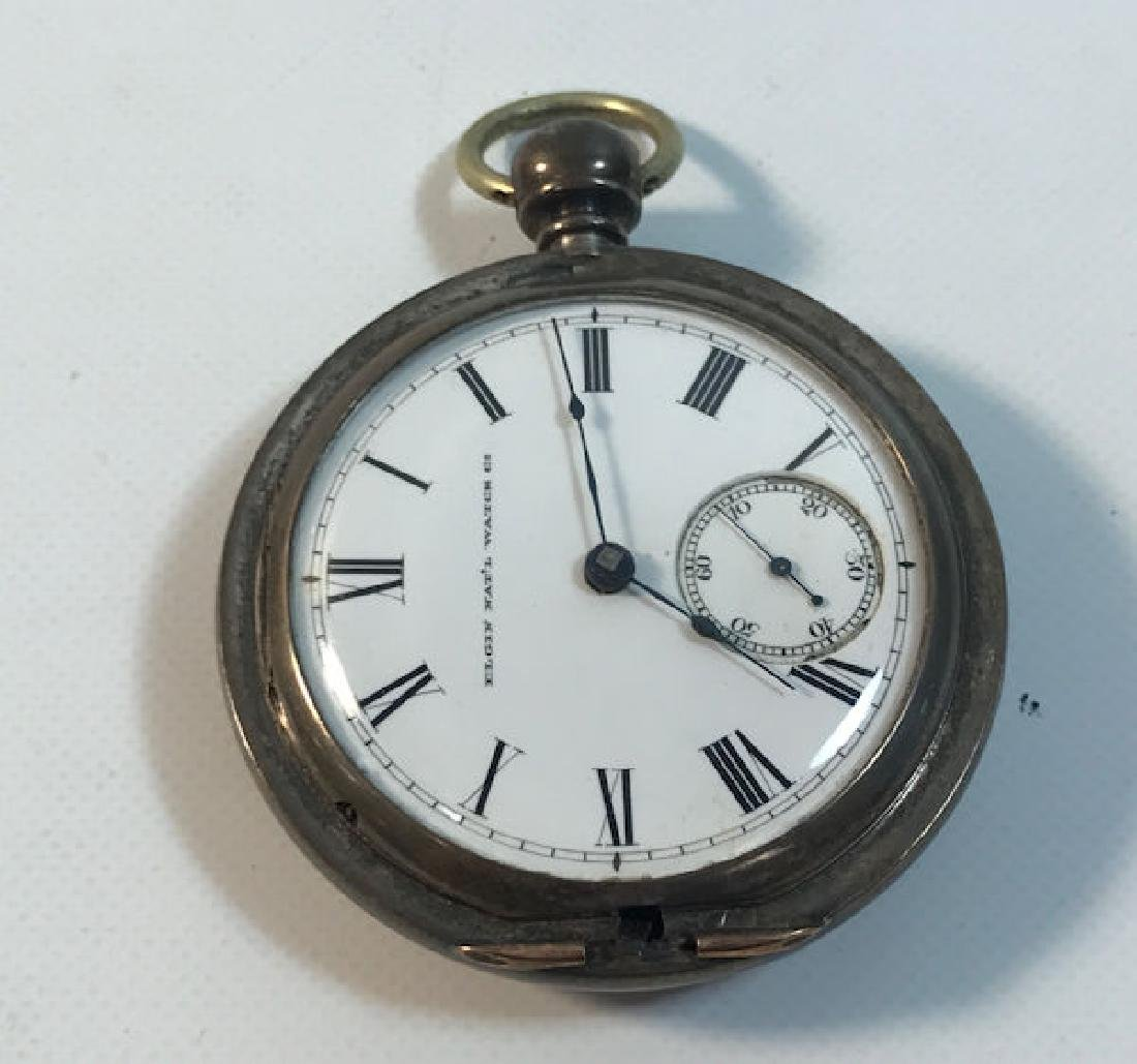 "ELGIN POCKET WATCH ~ STERLING SILVER CASE. 2.25"" IN"