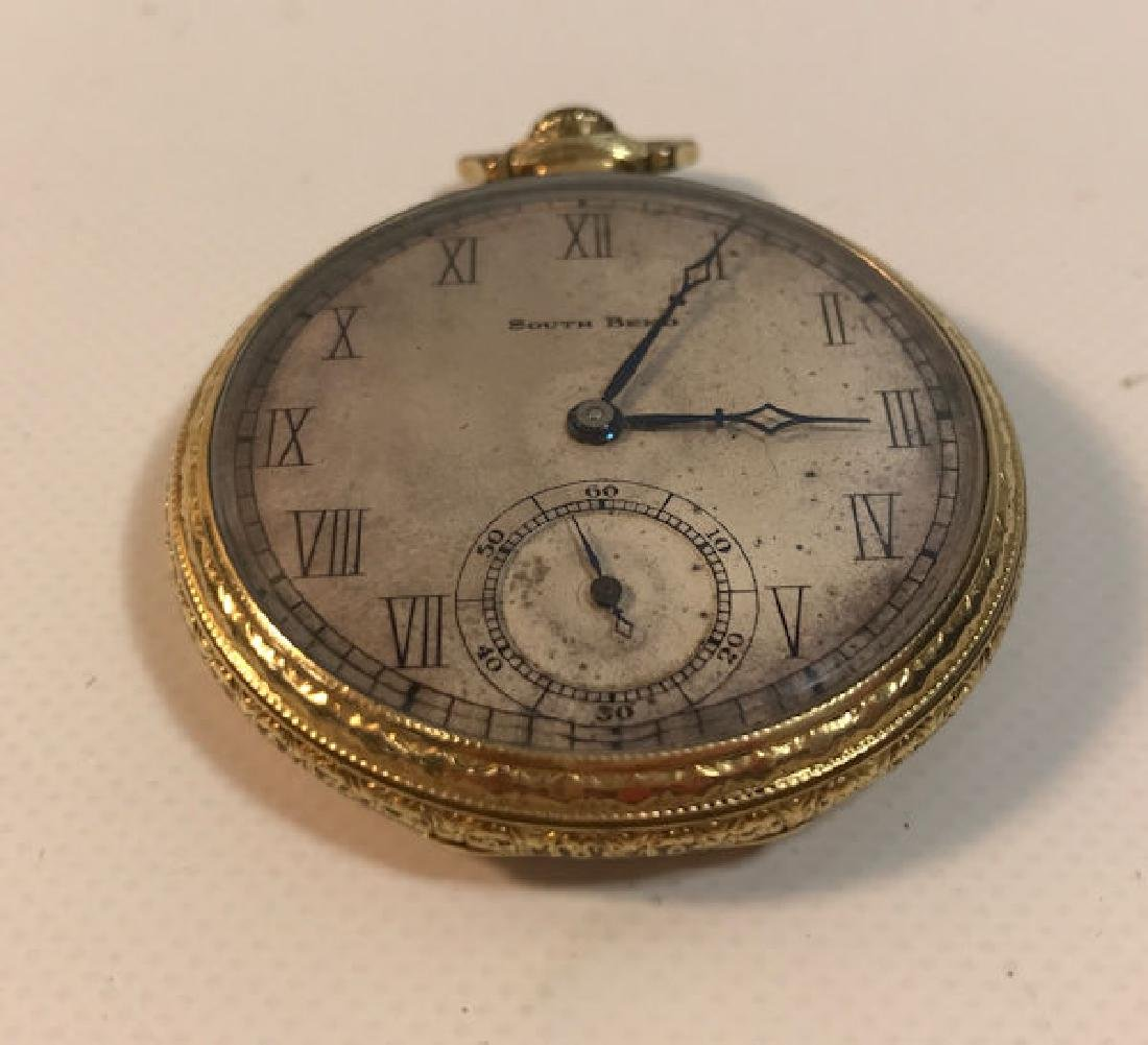 VINTAGE POCKET WATCH ~ FROM SOUTH BEND. GREY FACE.