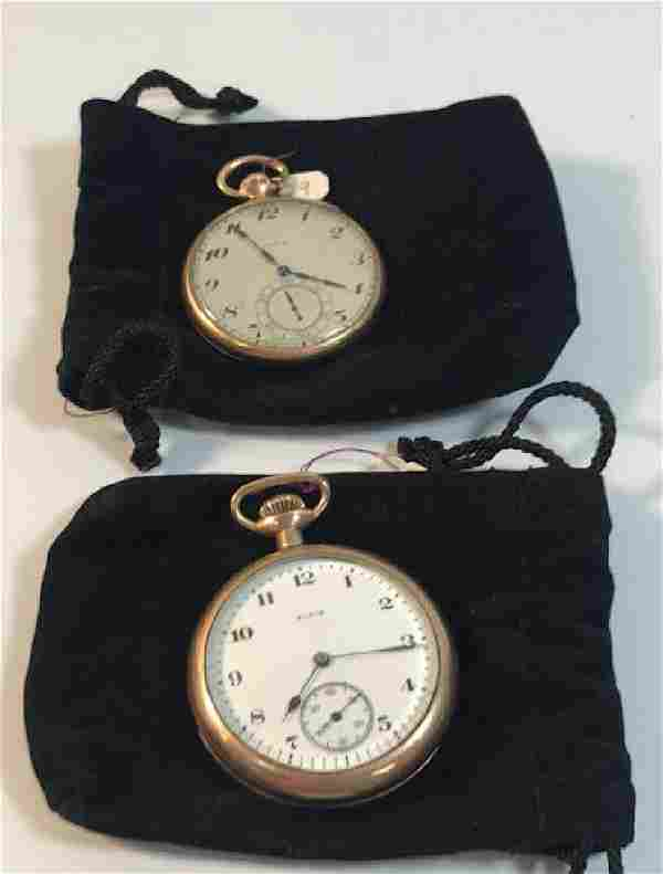 """TWO VINTAGE POCKET WATCHES ~ ELGIN 2"""" W/POLISHED GOLD"""