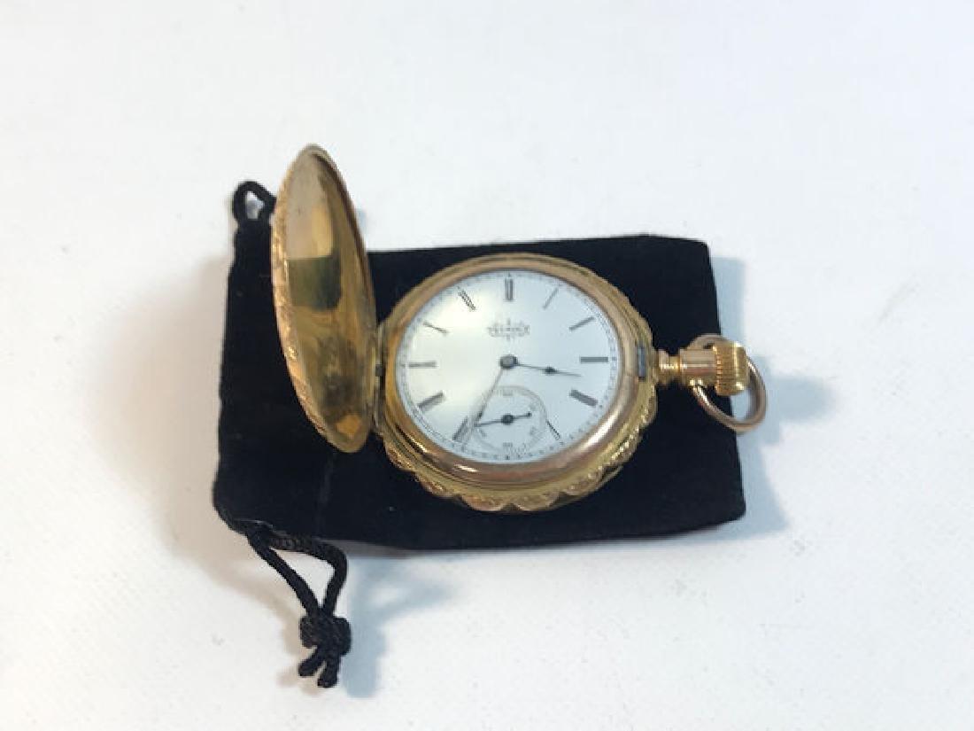 VINTAGE ELGIN POCKET WATCH ~ GOLD TONE CASE (EMBOSSED