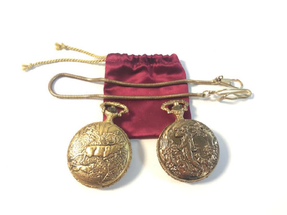 TWO GOLD TONE POCKET WATCHES ~ HUNTER CASES. WATCH