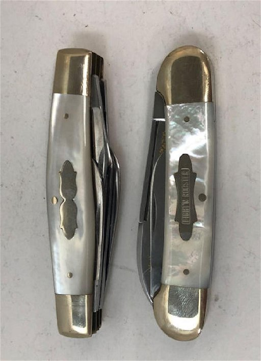 TWO FIGHT'N ROOSTER FOLDING KNIVES ~MOTHER OF PEARL