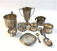 BOX LOT 10 SMALL STERLING SILVER PIECES INCLUDING BABY