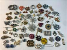 VINTAGE TO MODERN RHINESTONE PINS  OVER 40 PINS SOME