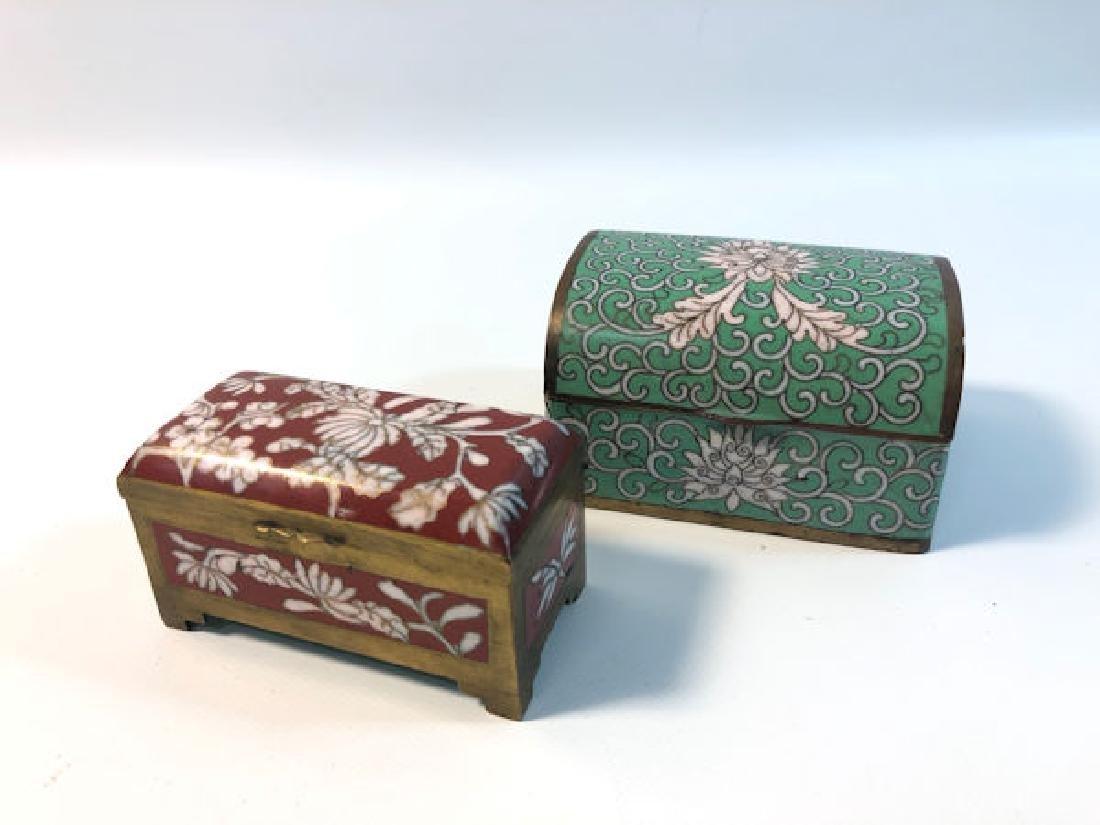 "TWO ENAMELED TRINKET BOXES ~ 2.5"" X 3.5"" GREEN ENAMELED"